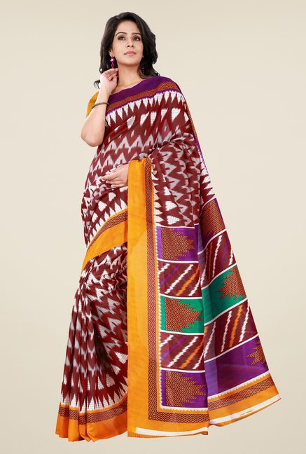 Shonaya Maroon & Yellow Bhagalpuri Silk Printed Saree