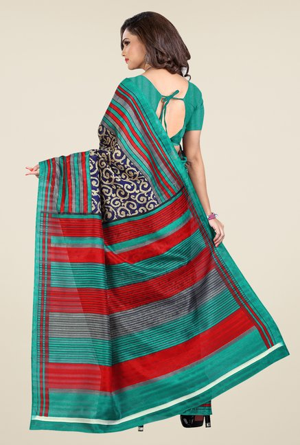 Shonaya Blue & Green Bhagalpuri Silk Printed Saree