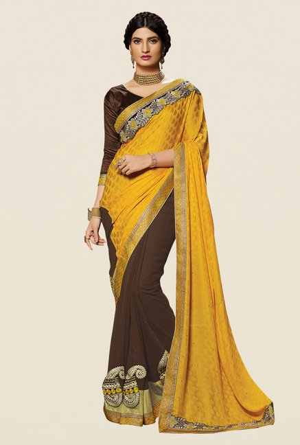 Shonaya Brown & Mustard Georgette Embroidered Saree