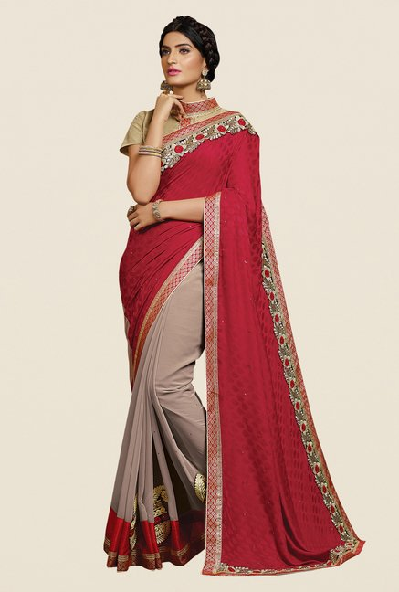 Shonaya Maroon & Tan Georgette Embroidered Saree