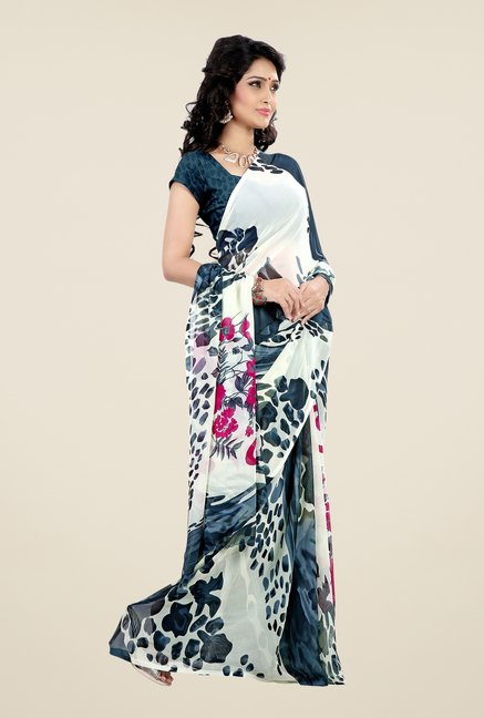 Shonaya Navy & Cream Faux Georgette Printed Saree