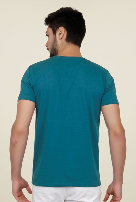 Cult Fiction Teal Green Printed T Shirt