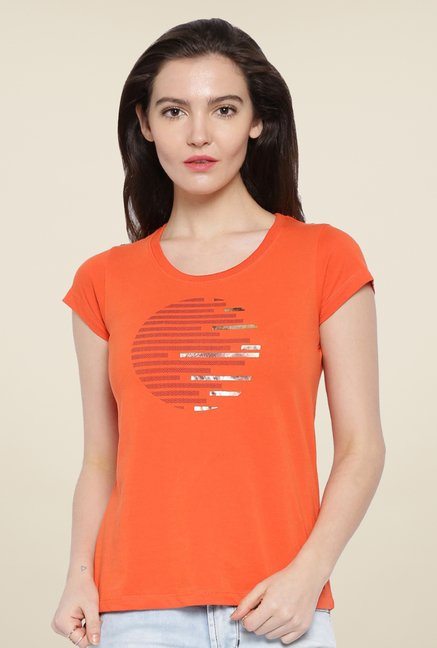 Cult Fiction Orange Printed T Shirt