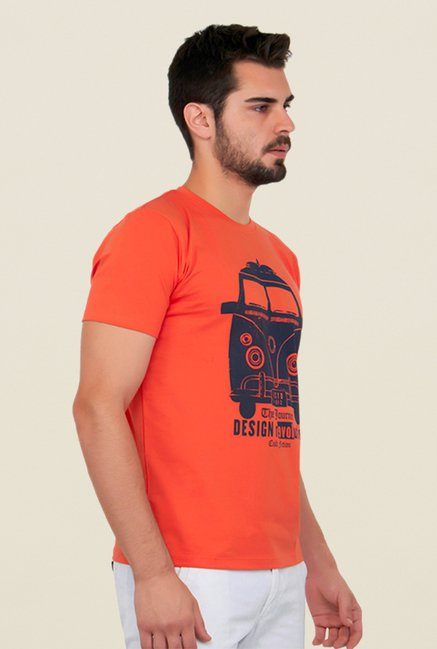 Cult Fiction Orange Graphic Print T Shirt