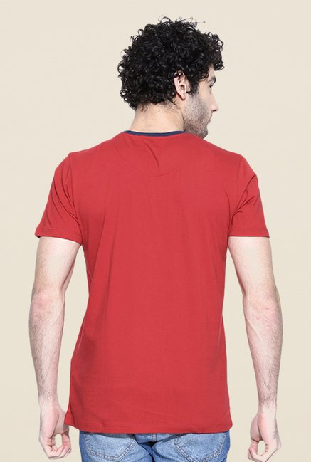 Cult Fiction Red Self Print T Shirt