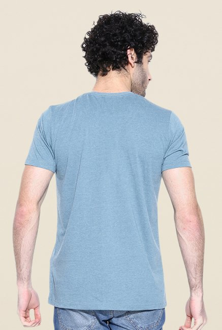 Cult Fiction Light Blue Solid T Shirt