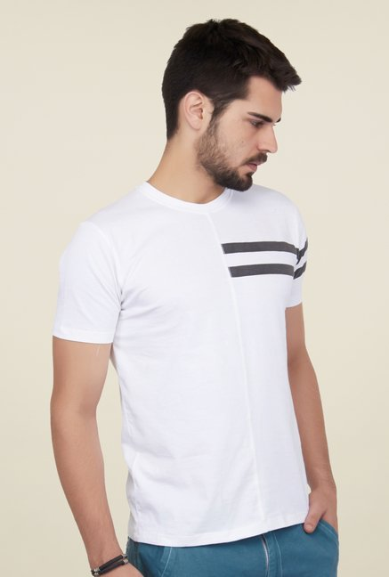 Cult Fiction White Solid T Shirt