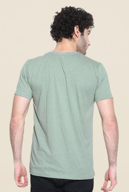 Cult Fiction Green Solid T Shirt