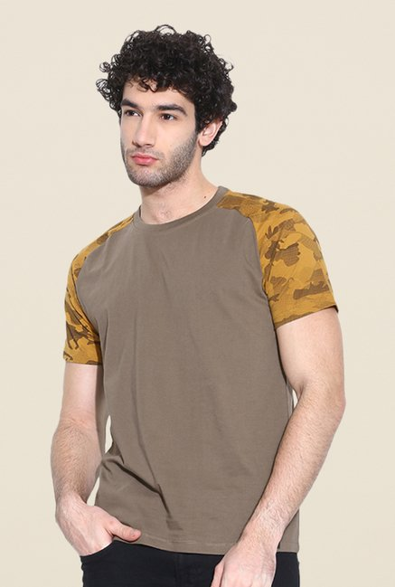 Cult Fiction Brown Solid T Shirt
