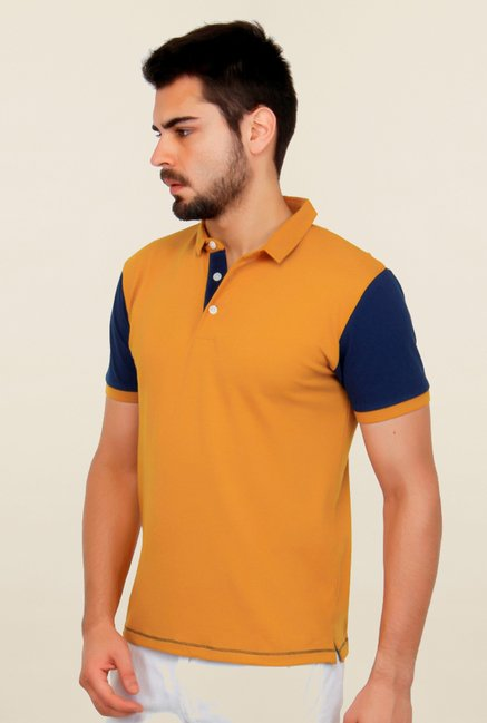 Cult Fiction Mustard Solid Polo T Shirt