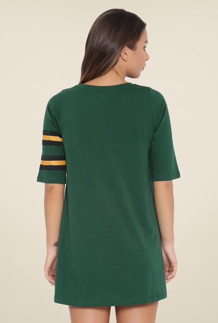 Cult Fiction Dark Green Solid Dress