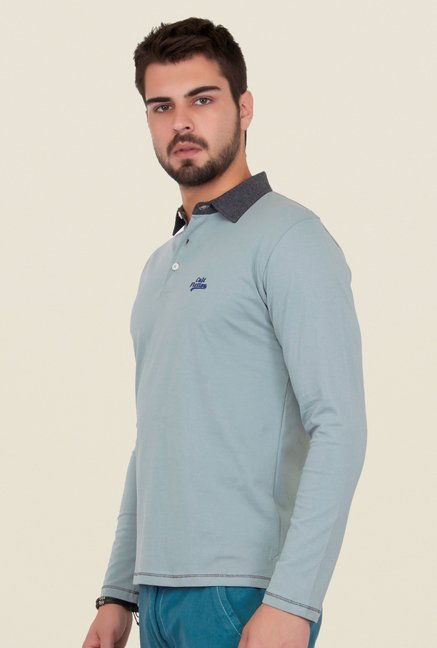 Cult Fiction Light Grey Solid Polo T Shirt