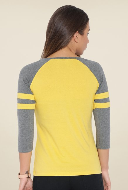 Cult Fiction Yellow Solid T Shirt