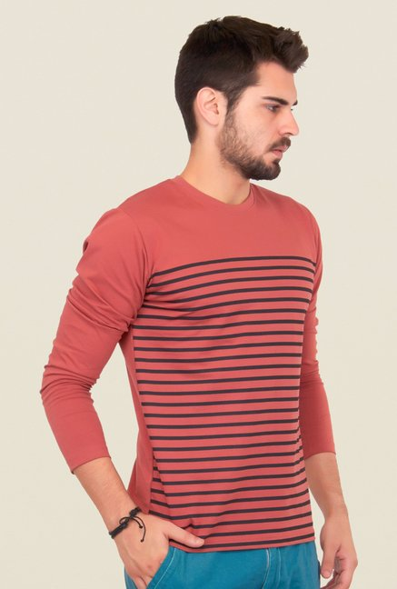 Cult Fiction Peach Striped T Shirt