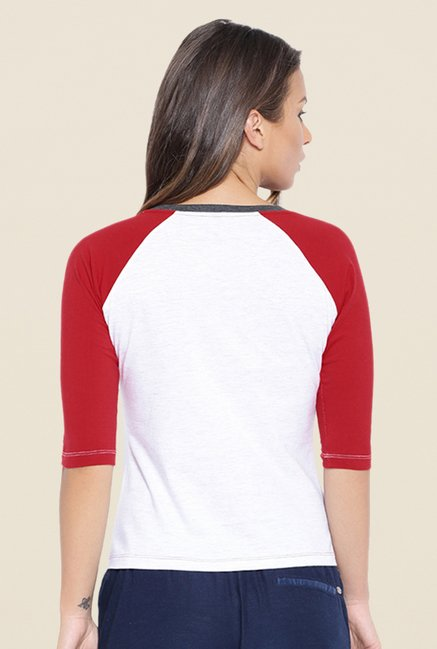 Cult Fiction White & Red Printed T Shirt