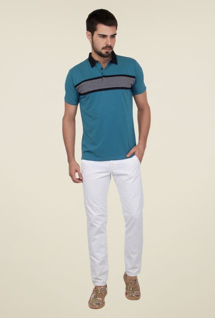 Cult Fiction Blue Striped Polo T Shirt