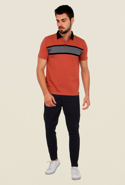 Cult Fiction Peach Striped Polo T Shirt