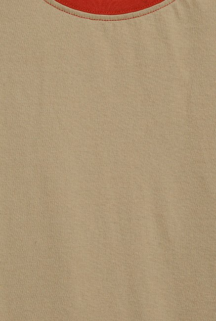 Cult Fiction Beige Solid T Shirt