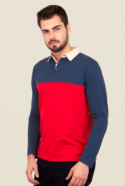Cult Fiction Red & Navy Solid Polo T Shirt