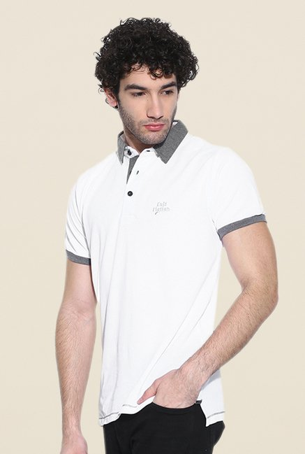 Cult Fiction White Solid Polo T Shirt