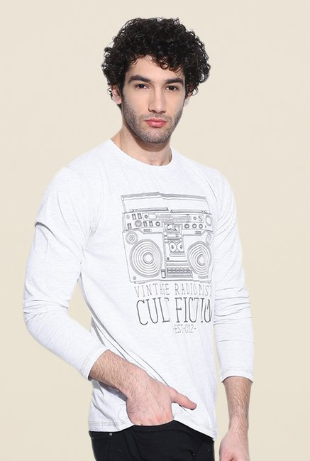 Cult Fiction White Graphic Print T Shirt