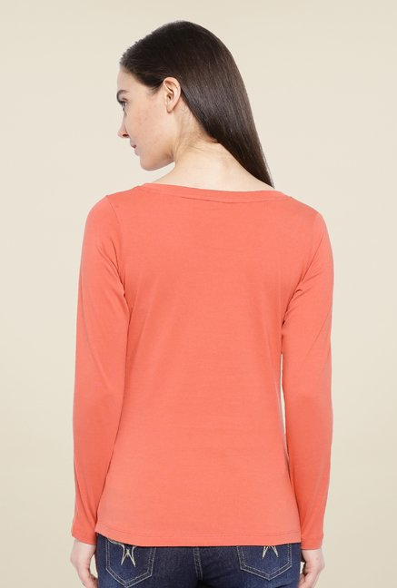 Cult Fiction Peach Solid T Shirt