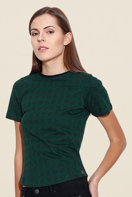 Cult Fiction Green Printed T Shirt