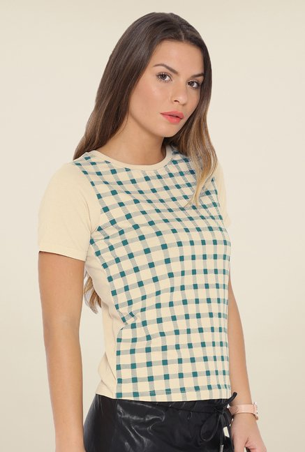 Cult Fiction Beige Checks T Shirt