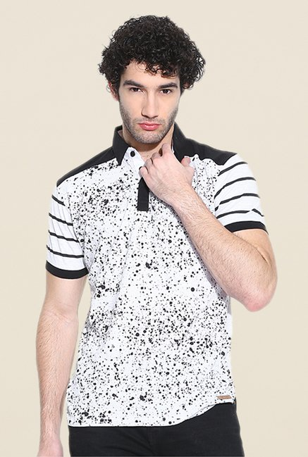 Cult Fiction White Printed Polo T Shirt