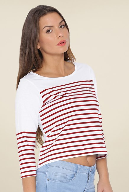 Cult Fiction White Striped T Shirt