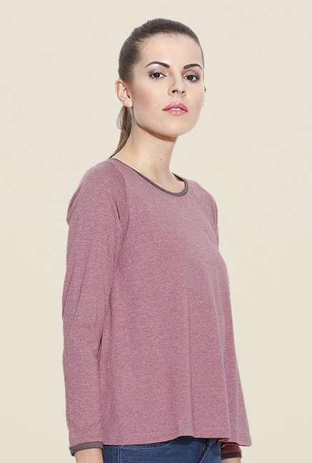 Cult Fiction Pink Solid T Shirt