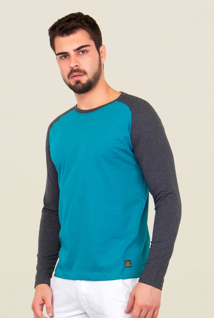 Cult Fiction Turquoise Solid T Shirt