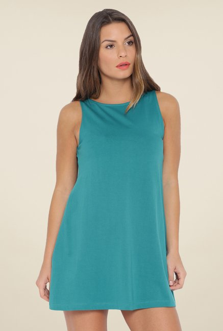 Cult Fiction Teal Solid Dress