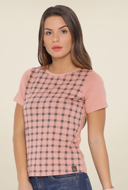 Cult Fiction Light Pink Checks T Shirt