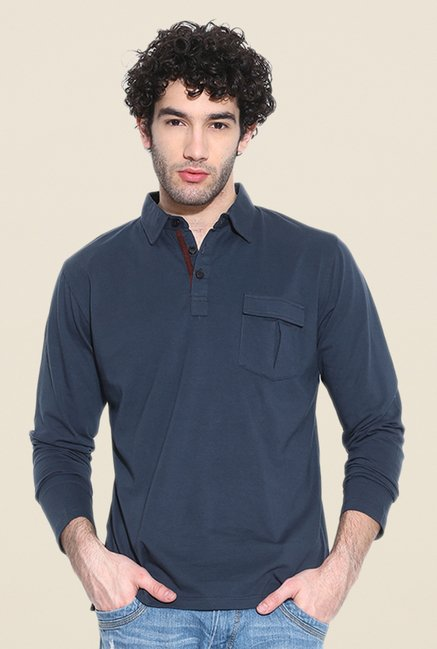 Cult Fiction Navy Solid Polo T Shirt