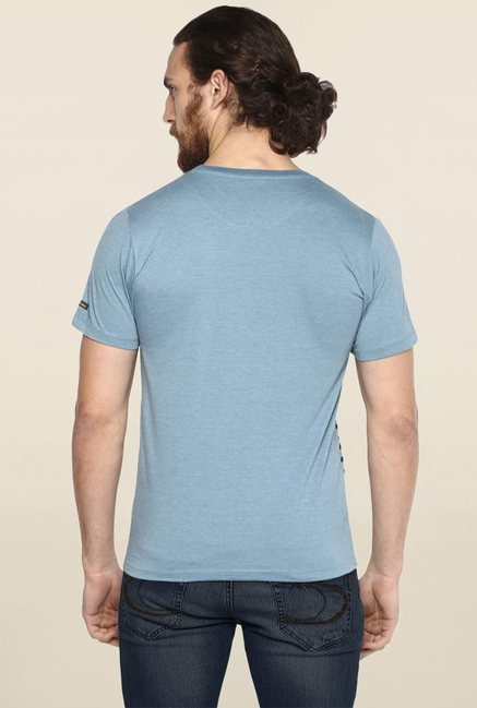 Cult Fiction Aqua Blue Striped T Shirt