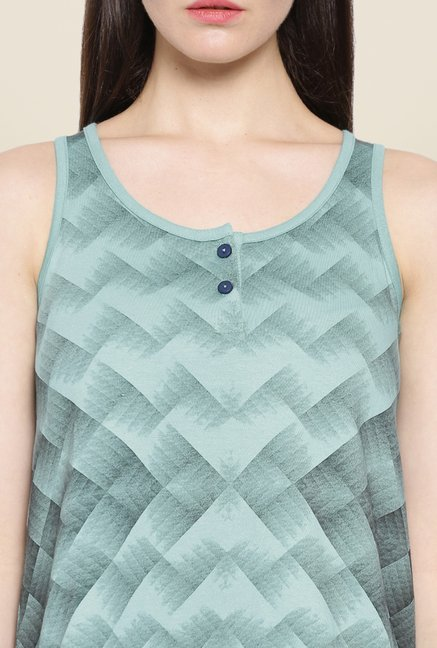 Cult Fiction Teal Printed Top