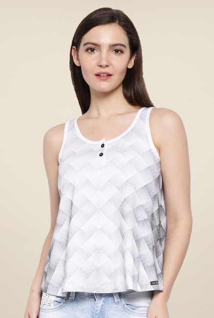 Cult Fiction White Printed Top