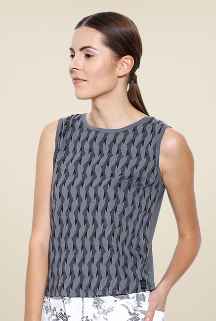 Cult Fiction Grey Printed Top