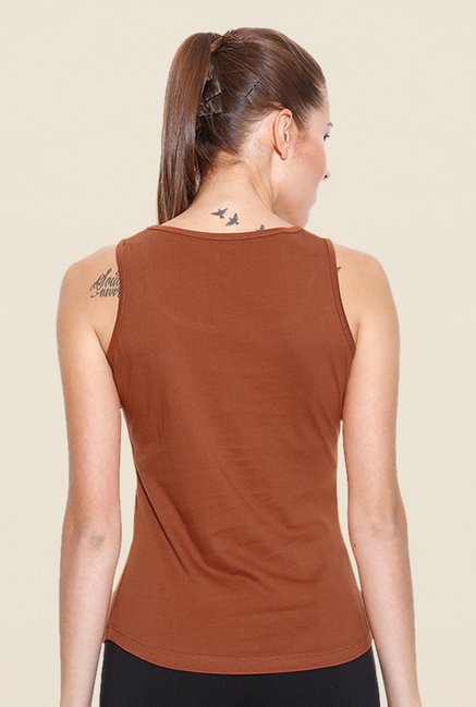 Cult Fiction Brown Solid Tank Top