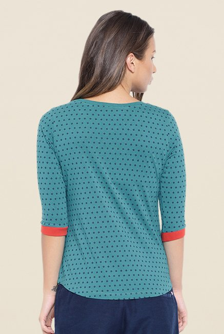 Cult Fiction Teal Printed T Shirt