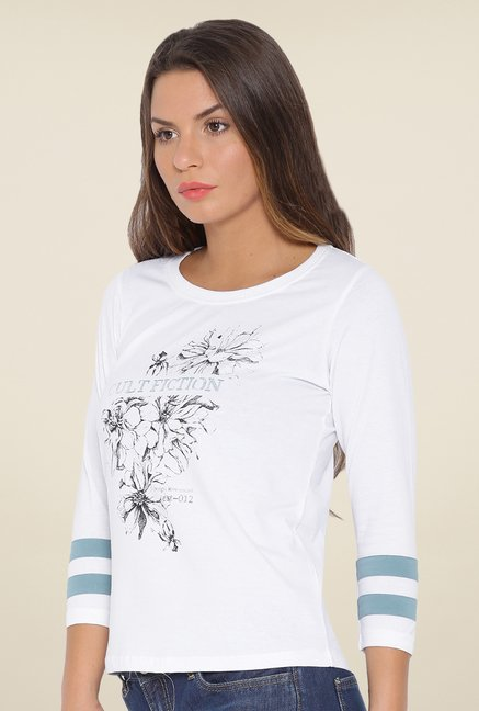 Cult Fiction White Floral T Shirt