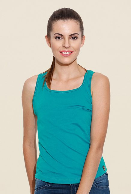 Cult Fiction Turquoise Solid Tank Top