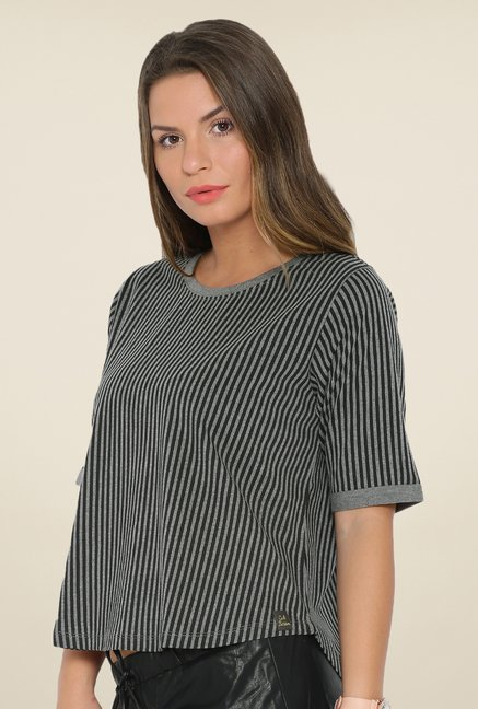 Cult Fiction Grey Striped T Shirt