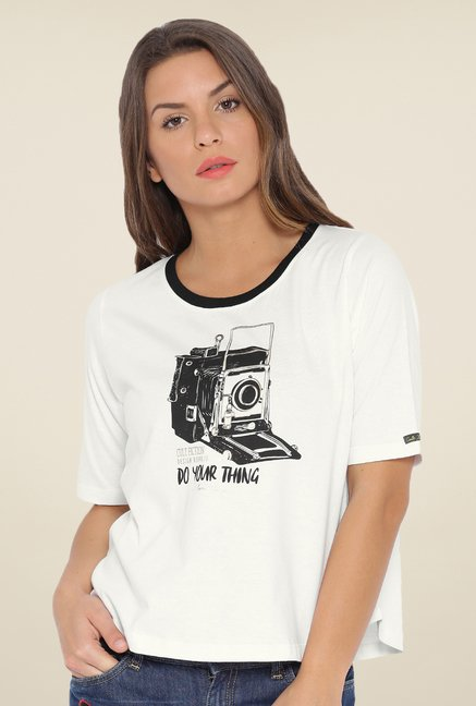 Cult Fiction White Graphic T Shirt