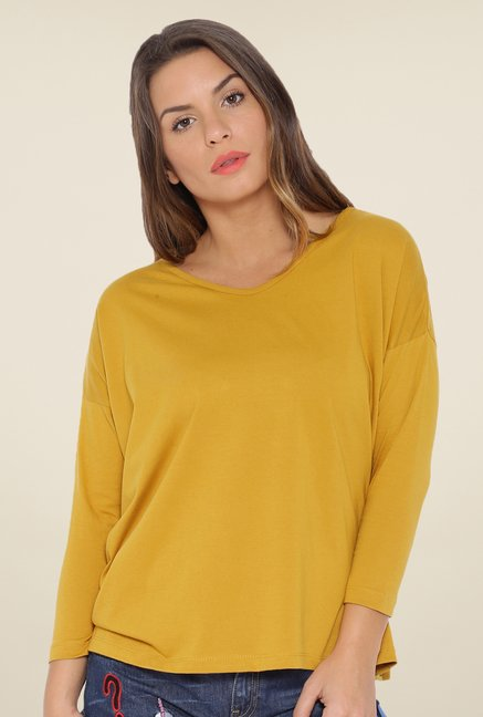Cult Fiction Mustard Solid T Shirt