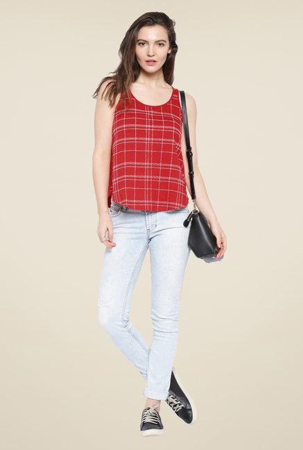 Cult Fiction Red Checks Top