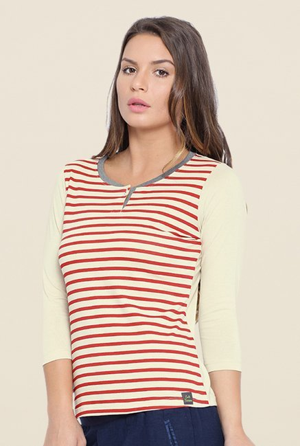 Cult Fiction Beige Striped T Shirt