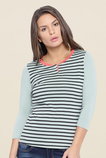 Cult Fiction Light Blue Striped T Shirt
