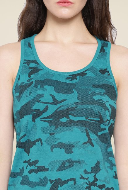 Cult Fiction Teal Printed Tank Top